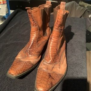 Size 12 faux snake skin and leather boots
